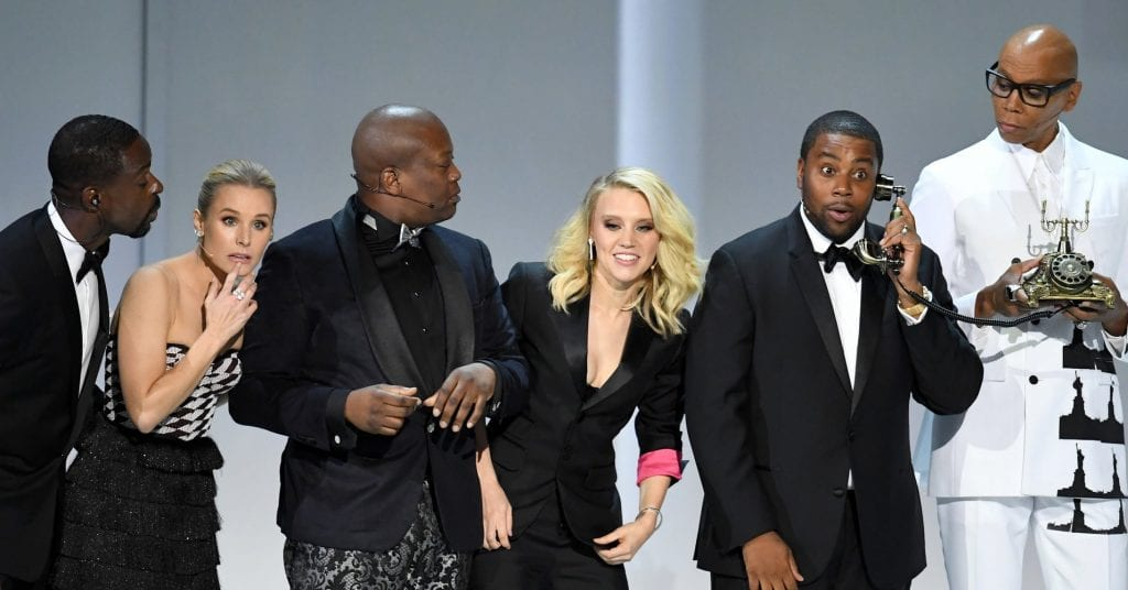 Celebrities on stage for the Emmy's.