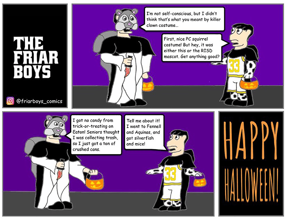 Cartoon of Friar Dom and Huxley talking about halloween costumes