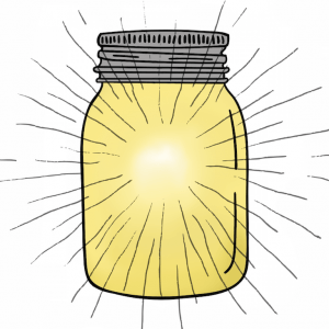 an illustration of a mason jar filled with light