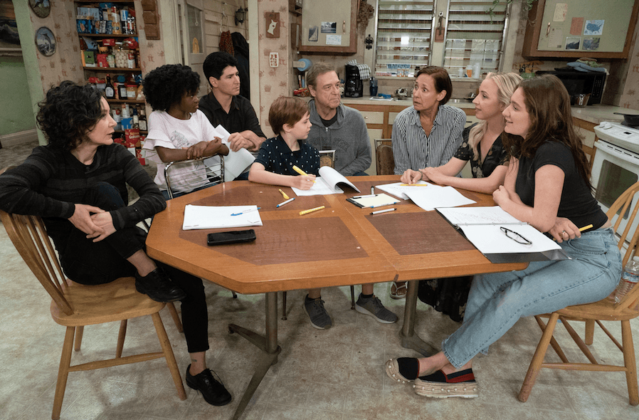 Actors on the set of the ABC show The Connors