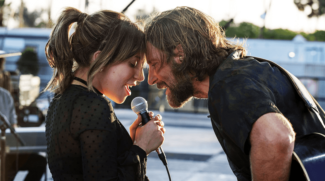 Bradley Cooper plays struggling musician Jackson who falls in love with Ally, played by Lady Gaga.