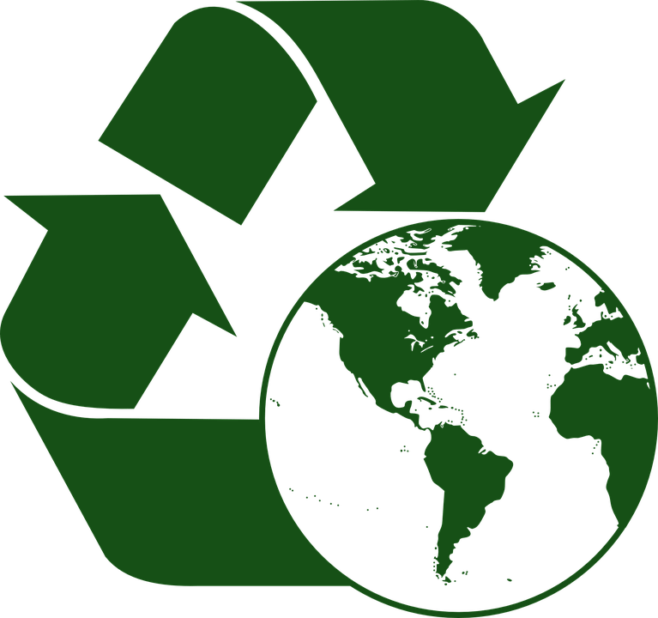 Graphic of recycle symbol around a globe.