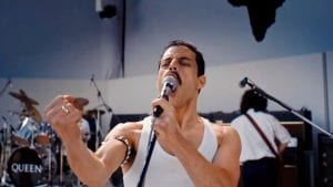 Rami Malek as Queen frontman Freddie Mercury, recording Night at the Opera in the studio.