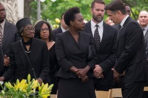Viola Davis as gang leader Veronica and Colin Farrell as corrupt politician Jack in Widows.