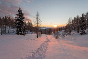 Sun rising in a wintery landscape photo