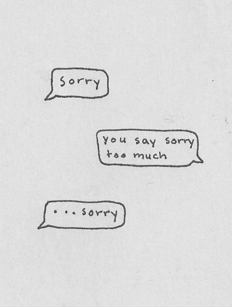 "Graphic of people texting with one continuously saying ""sorry."""