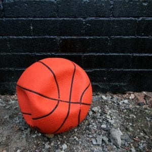 A deflated basketball