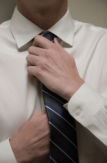 Student wearing a tie.