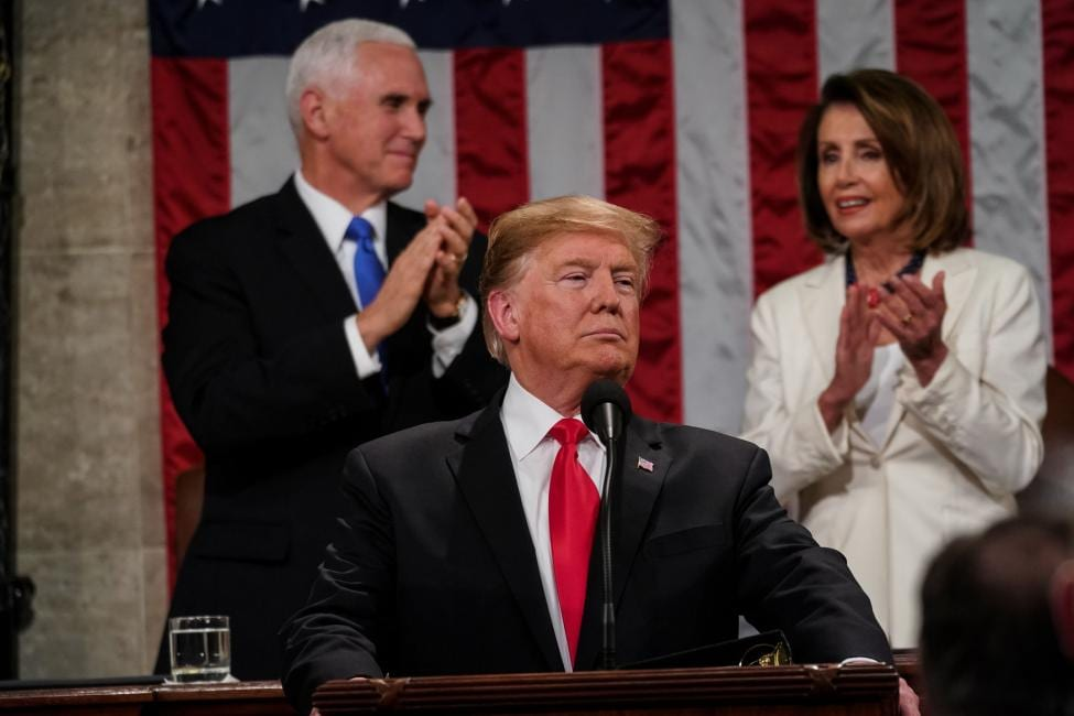 President Trump delivering the State of the Union Address.