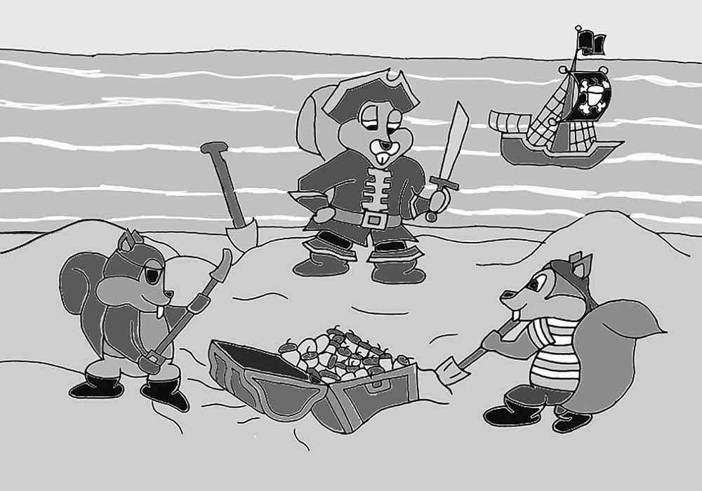 Squirrel pirate are burying their treasure chest full of acorns on a deserted island
