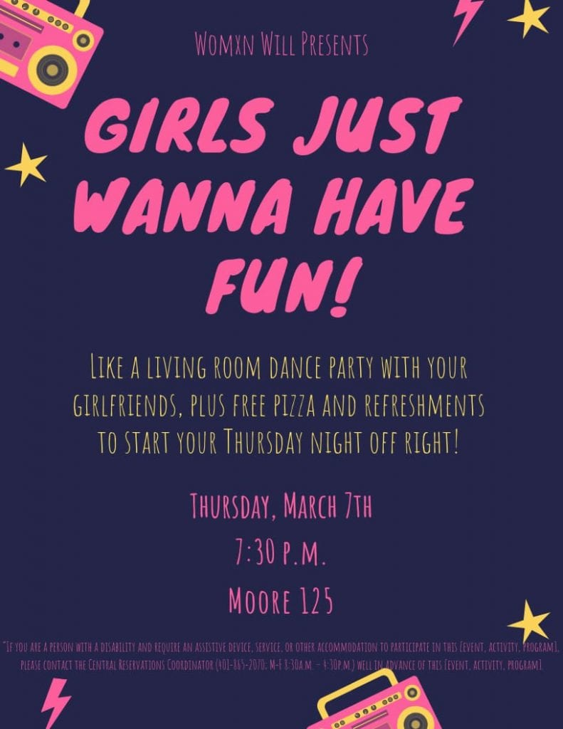 Poster for Girls Just Wanna Have Fun event.