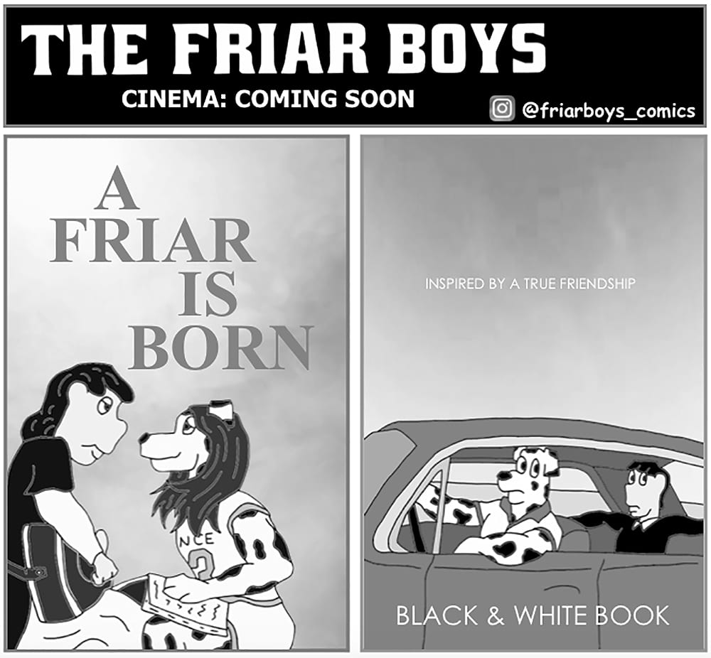 Movie posters for A Friar is Born and Black & White Book
