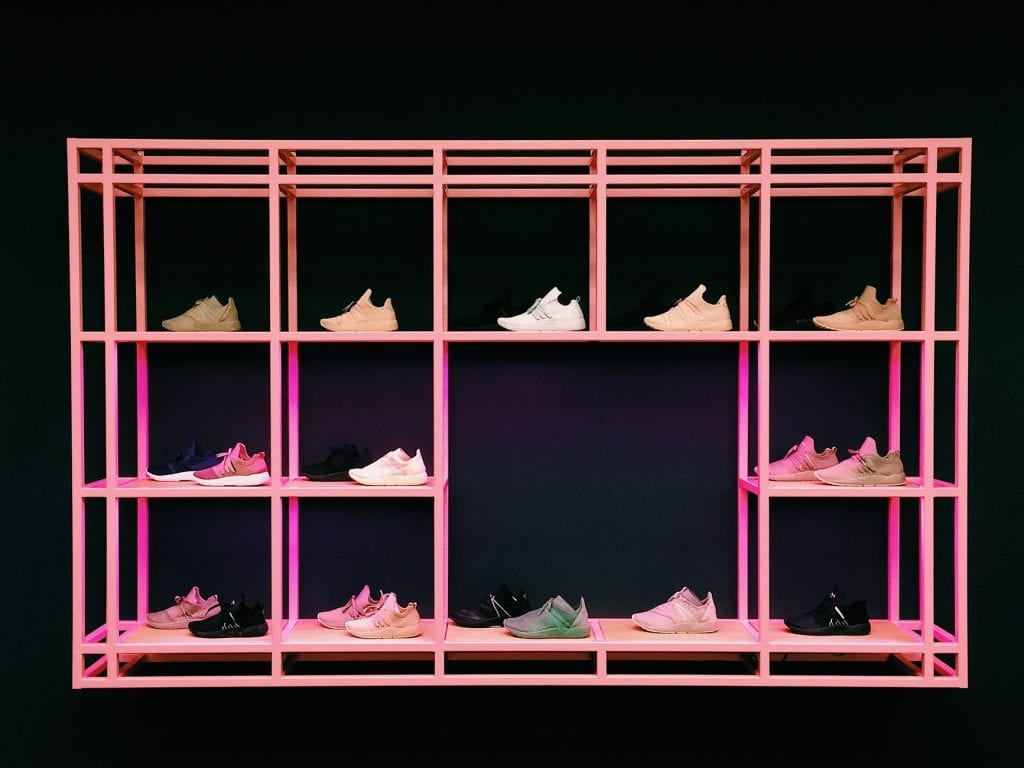 A rack of fashionable shoes
