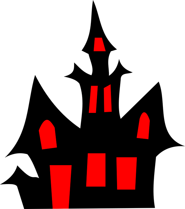 A spooky cartoon house in all black with red windows