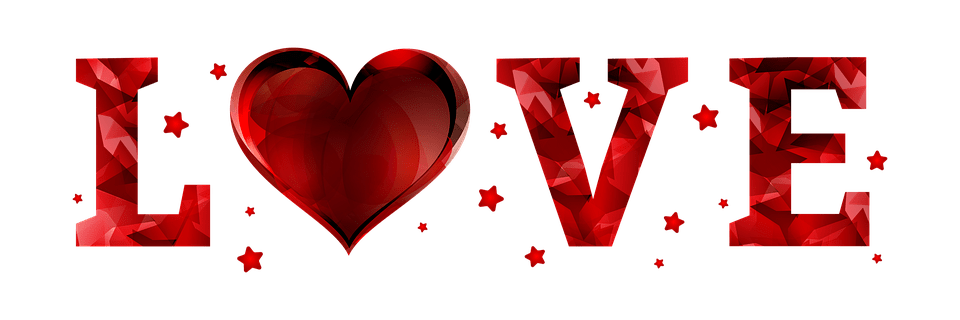 Love spelled out in red glittery letters