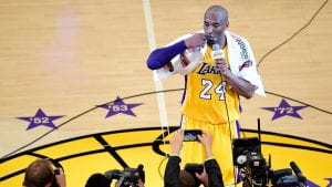 Kobe Bryant addresses the crowd after his final game