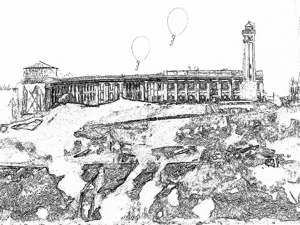 A pencil sketch of Alcatraz with balloons flying away from the prison