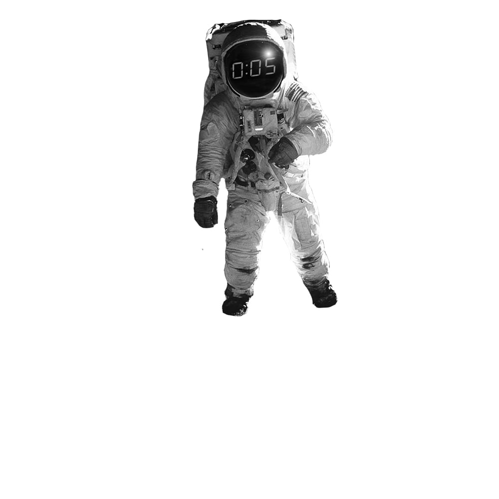 """An astronaut with a digital clock reading """"0:05"""" reflected in his helmet"""