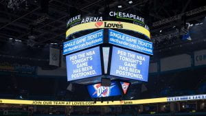 Jumbotron from Oklahoma City Thunder and Utah Jazz game, announcing the game's cancellation.