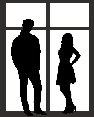 Silhouettes of a man and a woman in front of a Window frame