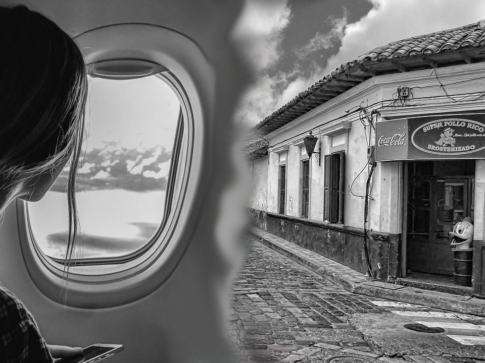 woman on an airplane looking into the sky; scene shifts to a rural Central American town storefront