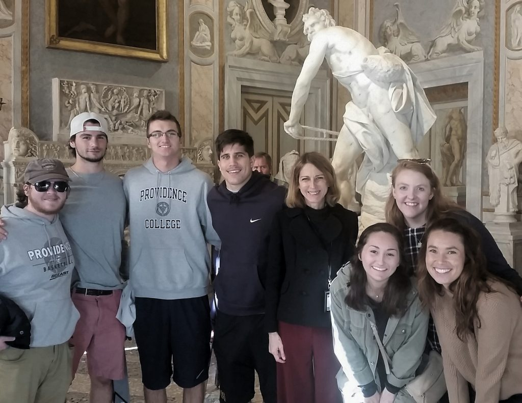 Students capturing the Bernini Moment at the Borghese