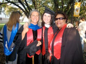 Commencement 2007, Master with Venora Frazier, Baker College Coordinator for 20+ years, and President Sara Zampierin