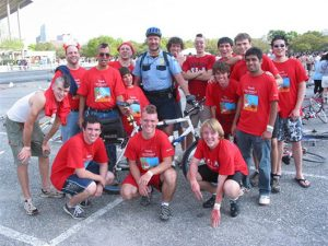 Beer Bike 2004, Master and Micromaster, with RUPD Officer Beeves, Bike Race