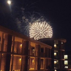View of the Miller Outdoor Theater fireworks from Martel College.