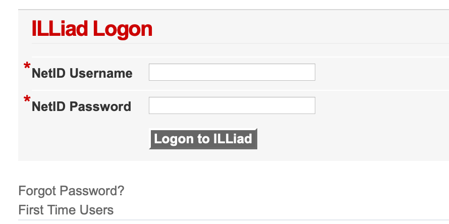 Illiad login page