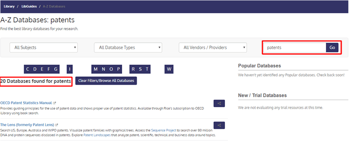 """Screenshot of an A-Z Database List search for """"patents."""""""