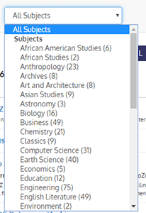 Screenshot of the Subjects drop-down menu on the A-Z Database List.