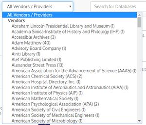 Screenshot of the Provider/Vendor drop-down menu for the A-Z Database List.