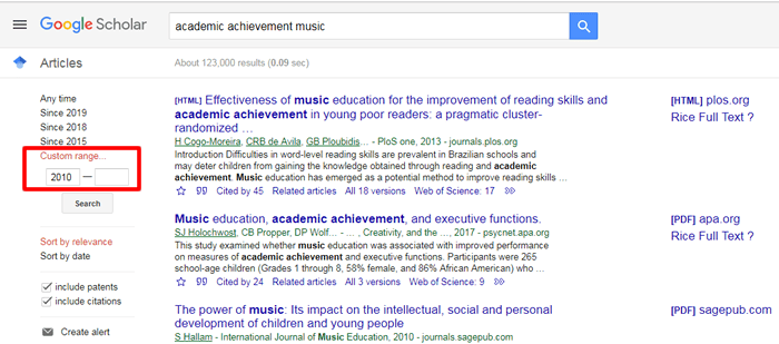 """Screenshot of a Google Scholar search for """"academic achievement music"""" with a search filter for publication date boxed in red."""