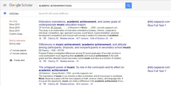 "Screenshot of a Google Scholar search for ""academic achievement music."""