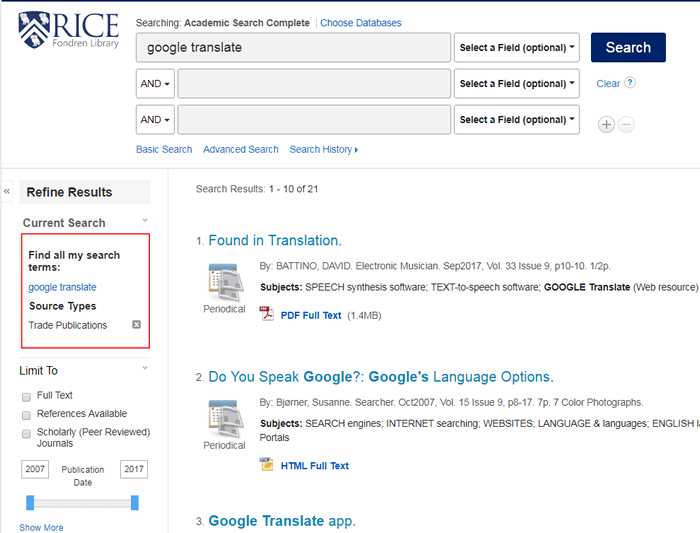 """Screenshot of an Academic Search Complete search for """"google translate"""" with the search details boxed in red."""