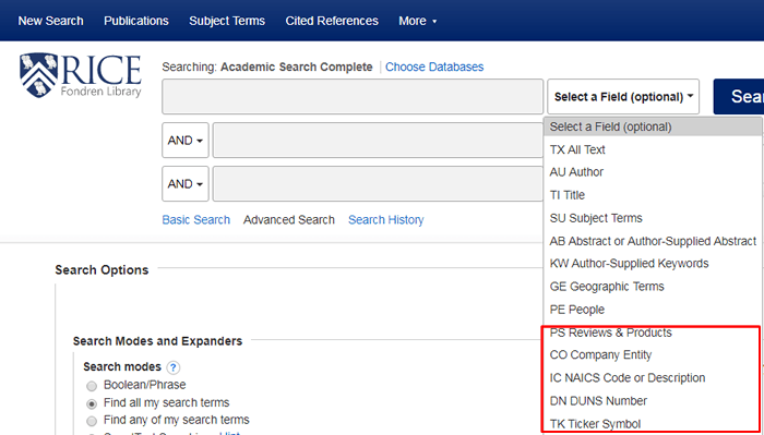 """Screenshot of Academic Search Complete's """"Select a Field"""" drop-down menu with the options pertaining to business searches boxed in red."""
