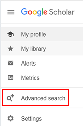"""Screenshot of the drop-down menu on Google Scholar's homepage open with """"Advanced Search"""" boxed in red."""