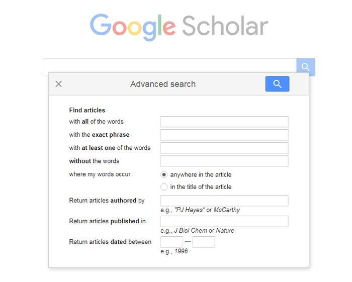 Screenshot of Google Scholar's Advanced Search box.