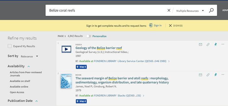 "Screenshot of search results for ""Belize coral reefs"" in OneSearch."