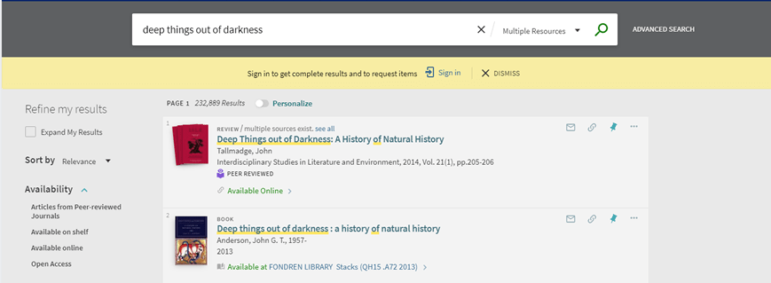 "Screenshot of OneSearch search results for ""Deep things out of darkness"""