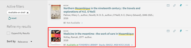 Screenshot of OneSearch search results with a book's record boxed in red.