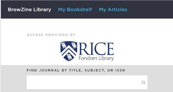 Screenshot of the BrowZine homepage for Rice.