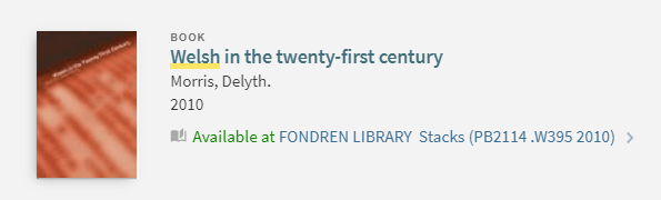 """Screenshot of a OneSearch record for a book titled """"Welsh in the twenty-first century."""""""