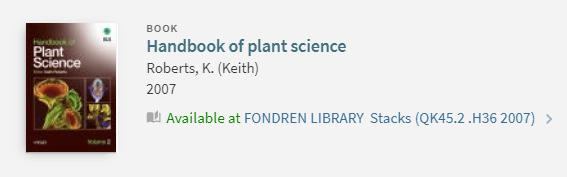 """Screenshot of a OneSearch record for a book titled """"Handbook of plant science."""""""