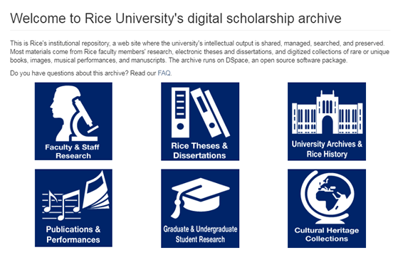 Screenshot of the Rice Digital Scholarship Archive homepage.