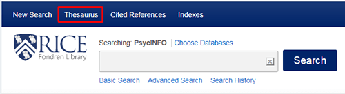 """Screenshot of RIce's homepage for PsycINFO with """"Thesaurus"""" at the top boxed in red."""
