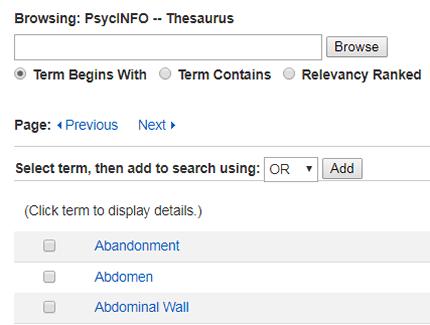 Screenshot of PsycINFO's subject headings list.