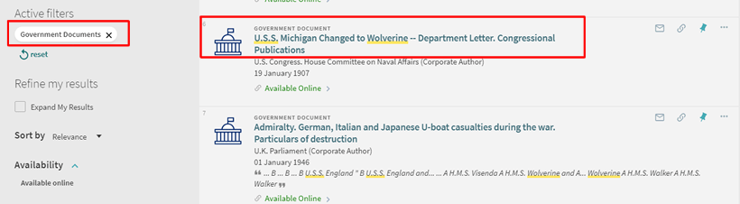 "Screenshot of a OneSearch search for ""U.S.S. Wolverine"" with the ""Government Documents"" filter applied."