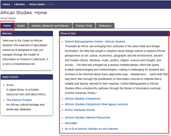 """Screenshot of the homepage for Fondren's African Studies research guide with the """"Where to Start"""" box boxed in red."""